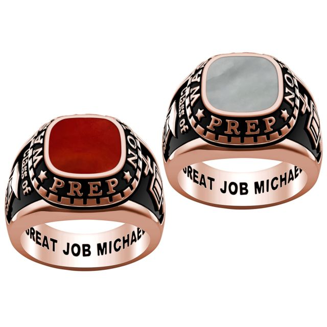 Men's Rose Gold Plate Genuine Stone Class Ring