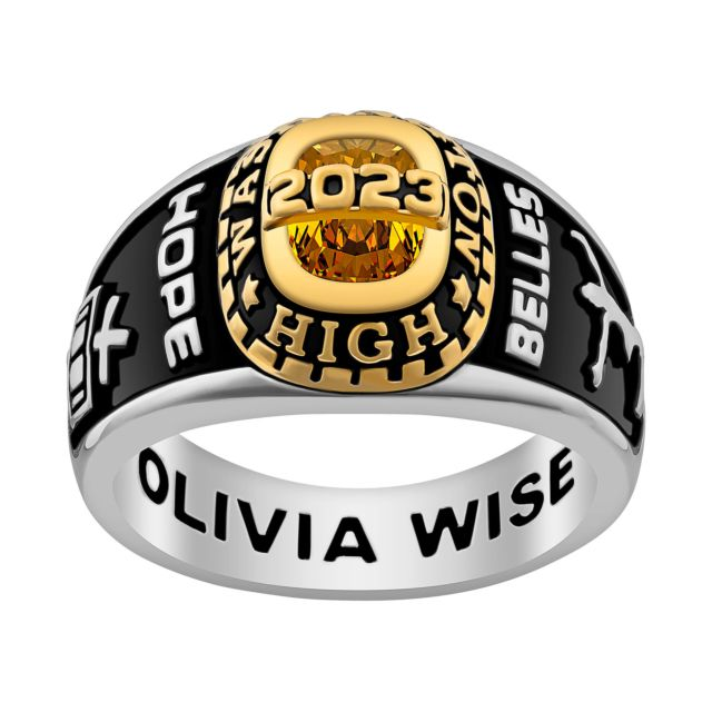 Ladies' Silver Celebrium and Gold Traditional Birthstone Class Ring