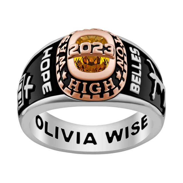 Ladies' Silver Celebrium and Rose Gold Traditional Birthstone Class Ring