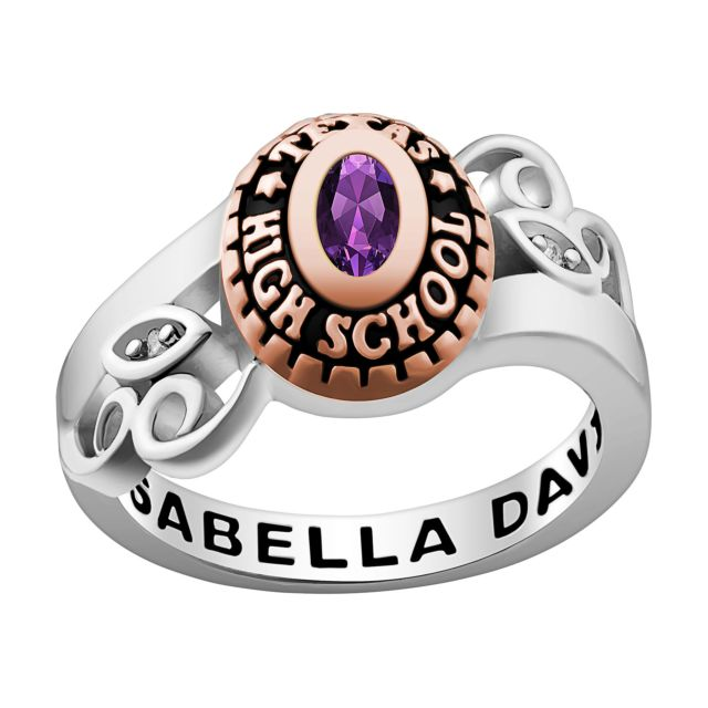 Ladies' Silver Celebrium and Rose Gold Swirl Birthstone Class Ring