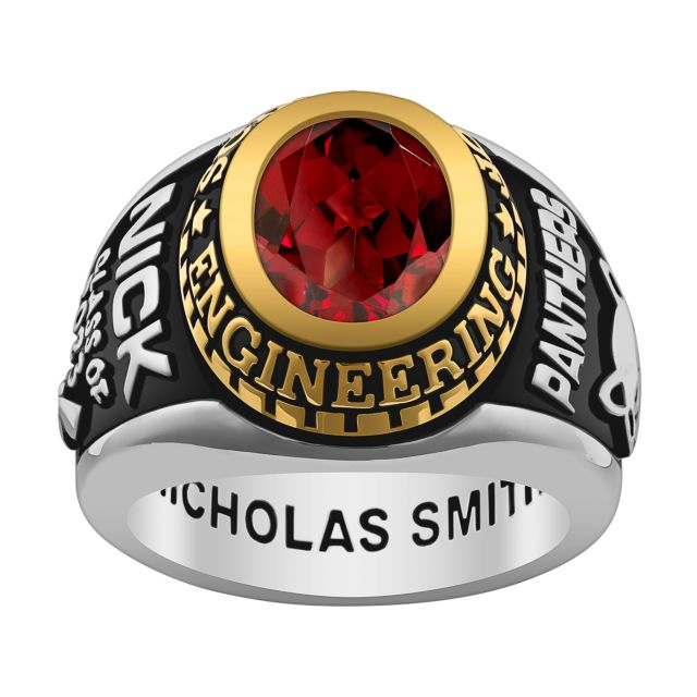 Men's Silver and Gold over Sterling Birthstone Class Ring