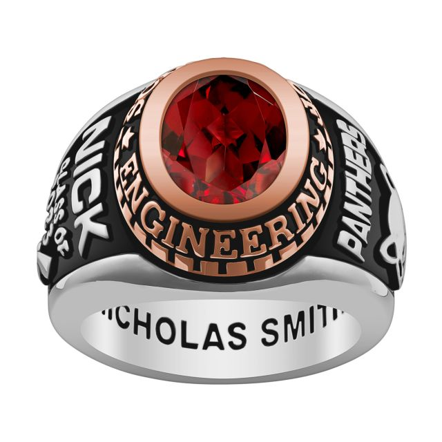 Men's Silver and 14K Rose Gold over Sterling Birthstone Class Ring
