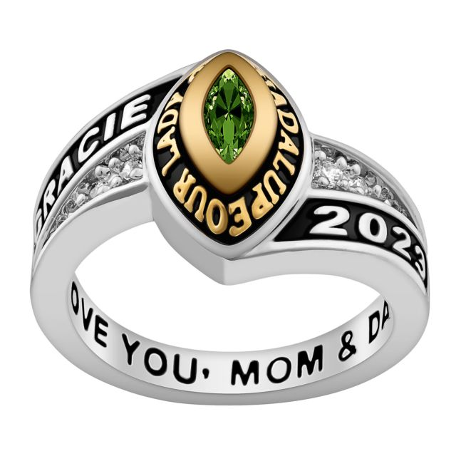 Ladies' Silver Celebrium and Gold Marquise Birthstone Class Ring