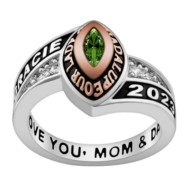 Ladies' Silver Celebrium and Rose Gold Marquise Birthstone Class Ring
