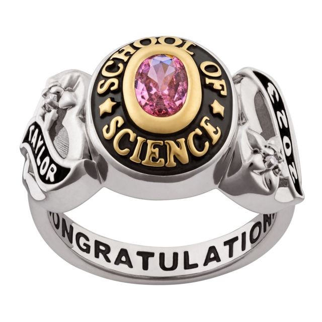 Ladies' Silver Celebrium and Gold Sweetheart Birthstone Class Ring