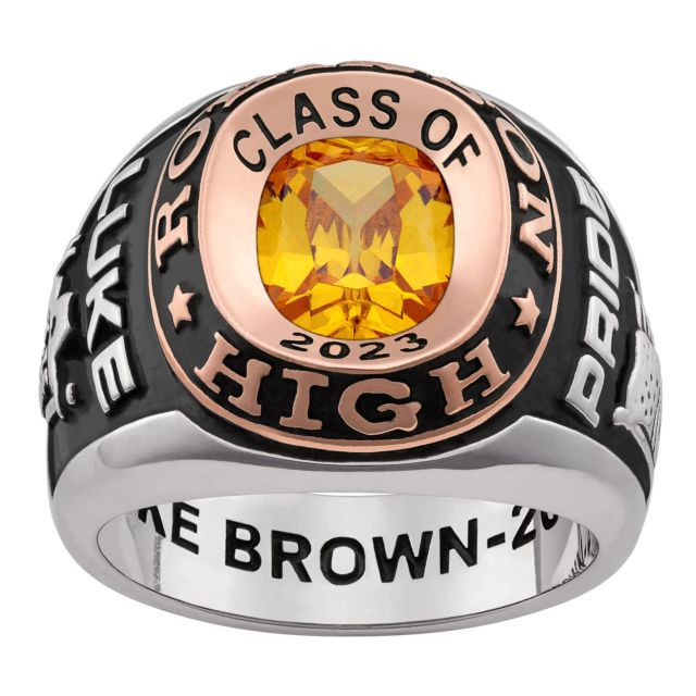 Men's Platinum and Rose Gold Plated 2-Tone Double Row Class Ring
