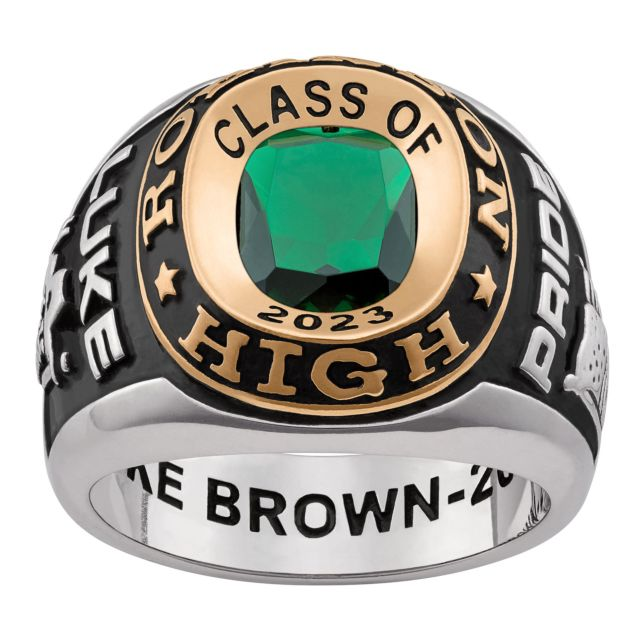 Men's Platinum and Gold Over Sterling Double Row Class Ring