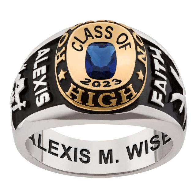 Ladies' Platinum & 14K Gold Plated Double Row Class Ring