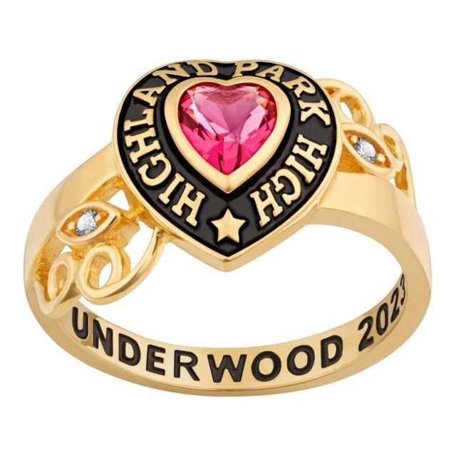 Ladies' Gold over Sterling Heart Stone and CZ Swirl Class Ring