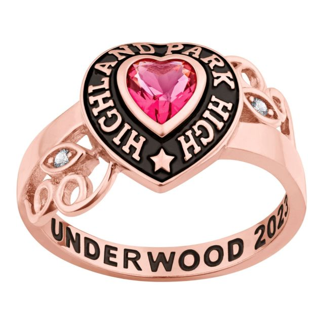 Ladies' Rose Gold over Sterling Heart Stone and CZ Swirl Class Ring