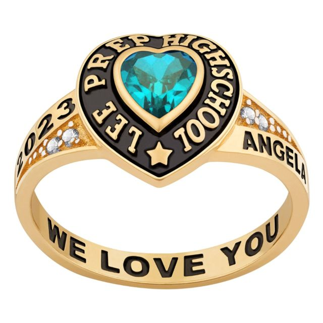 Ladies' Yellow Celebrium Traditional Heart Birthstone with CZ Accents Class Ring