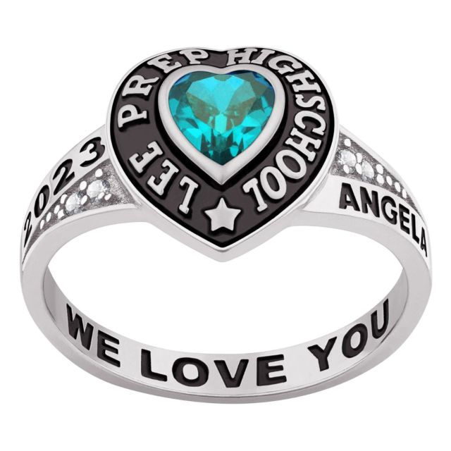 Ladies' Sterling Silver Traditional Heart Birthstone with CZ Accents Class Ring