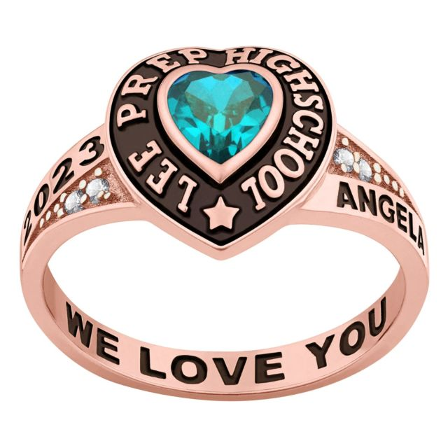 Ladies' Rose Gold over Sterling Traditional Heart Birthstone with CZ Accents Class Ring