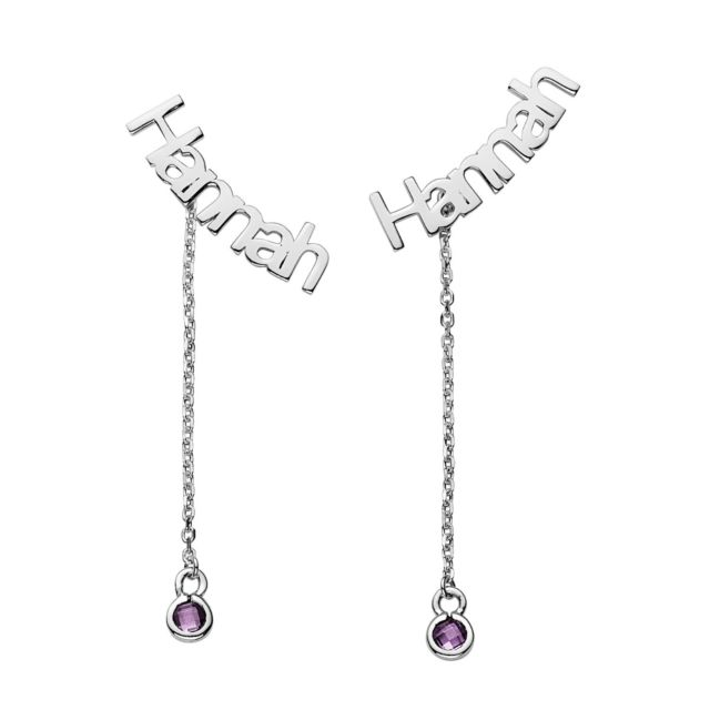 Sterling Silver Name with Birthstone Dangle Crawler Earrings