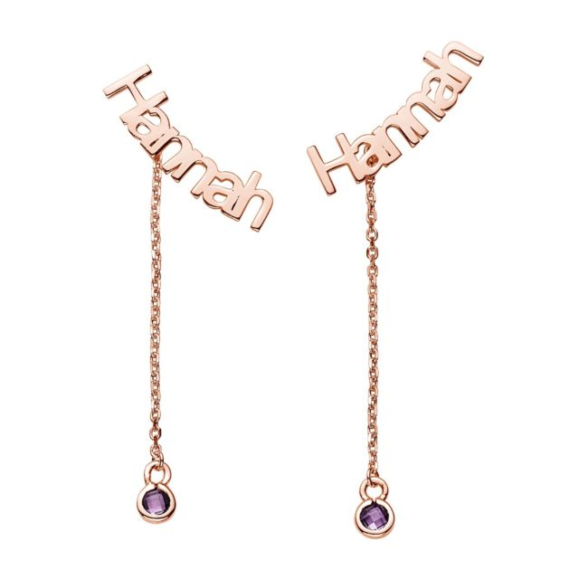 Rose Gold over Sterling Name with Birthstone Dangle Crawler Earrings