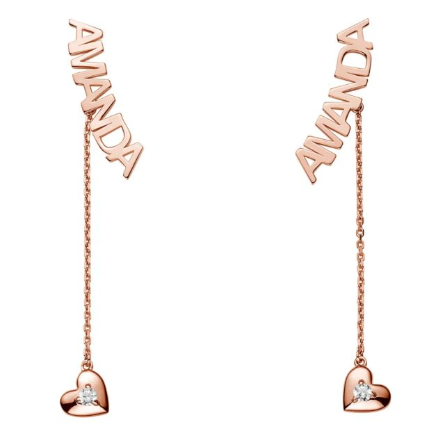 Rose Gold over Sterling Name with Birthstone Heart Dangle Crawler Earrings