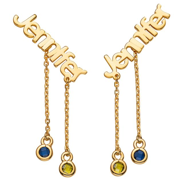 Gold over Sterling Name with Birthstone Dangle Crawler Earrings