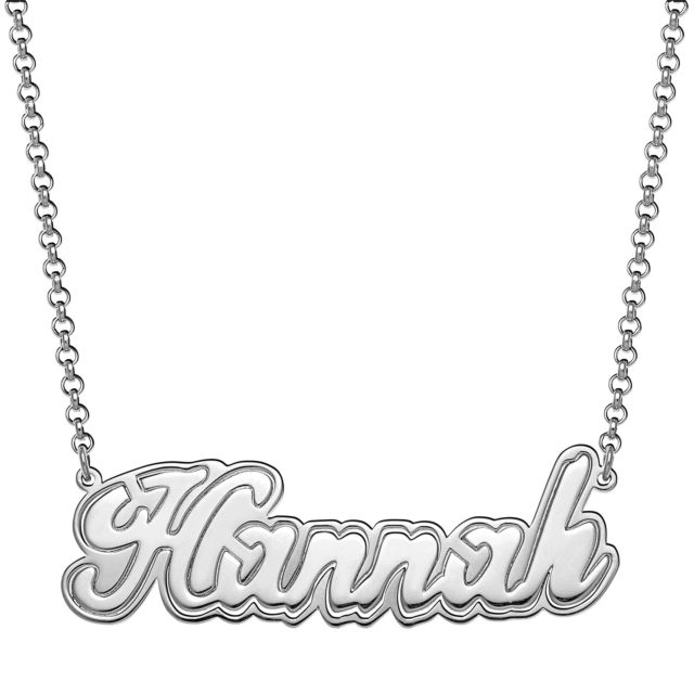 Sterling Silver Name with Outline Necklace