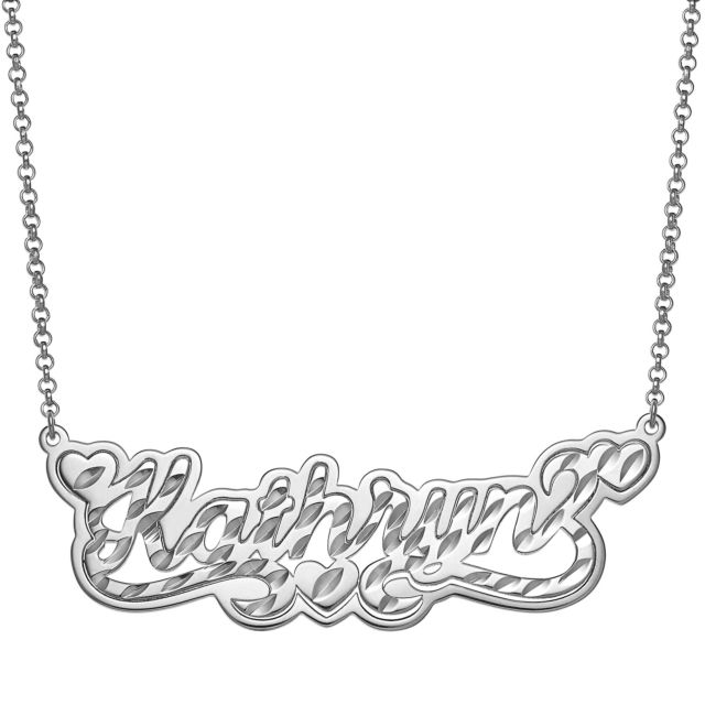 Sterling Silver Name with Diamond Cut and Heart Swirl Necklace