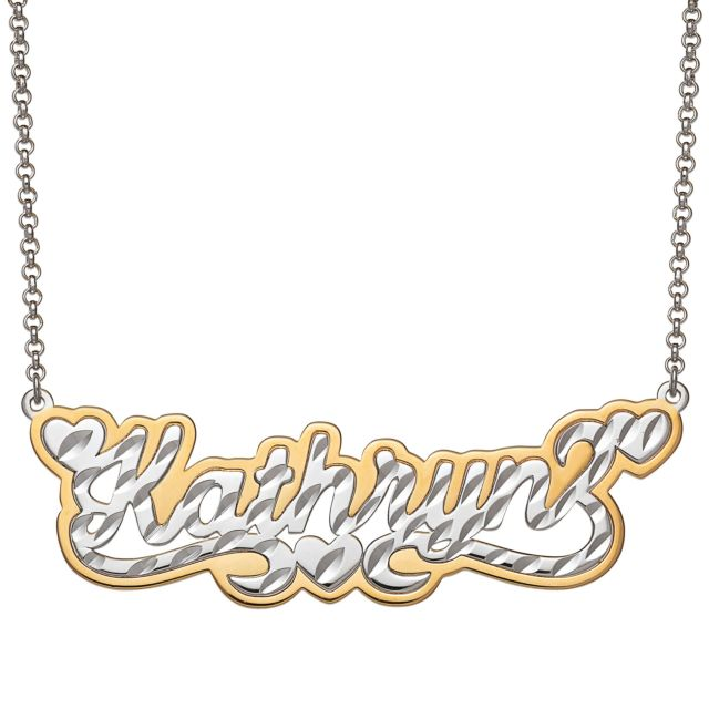 Two-tone Sterling Silver  Name with Diamond Cut and Heart Swirl Necklace