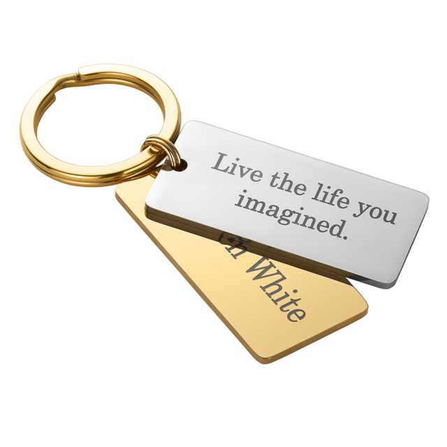 Two Tone Stainless Steel Dog Tag Key Chain