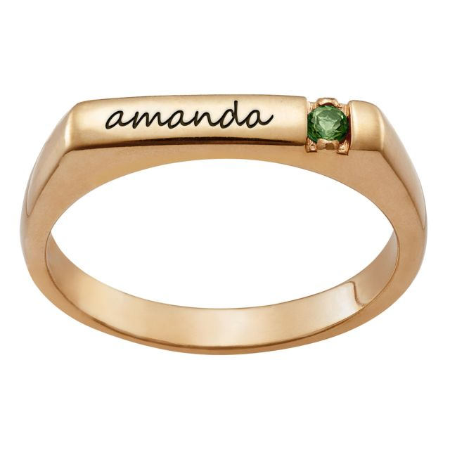 Personalized Name and Birthstone Stackable Ring