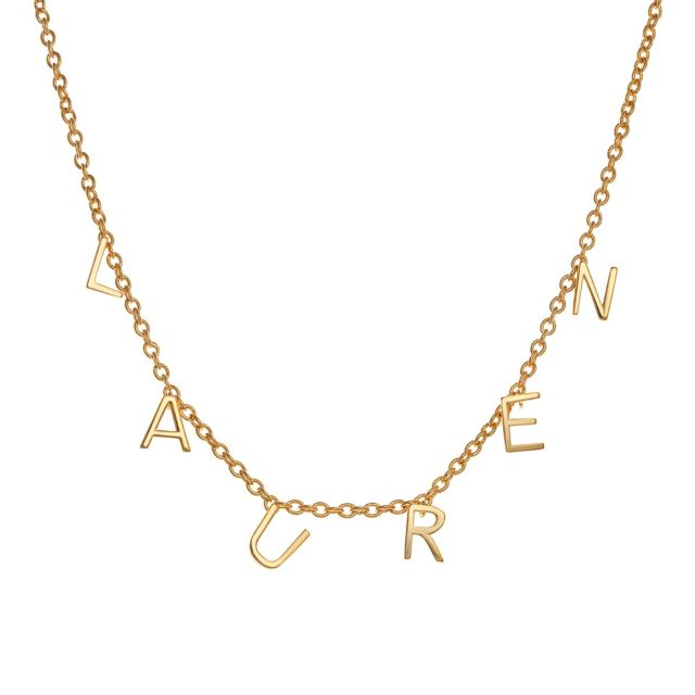 14K Gold over Sterling Dainty Name Choker