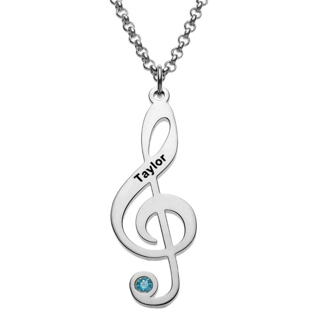 Silvertone Treble Clef Name and Birthstone Necklace