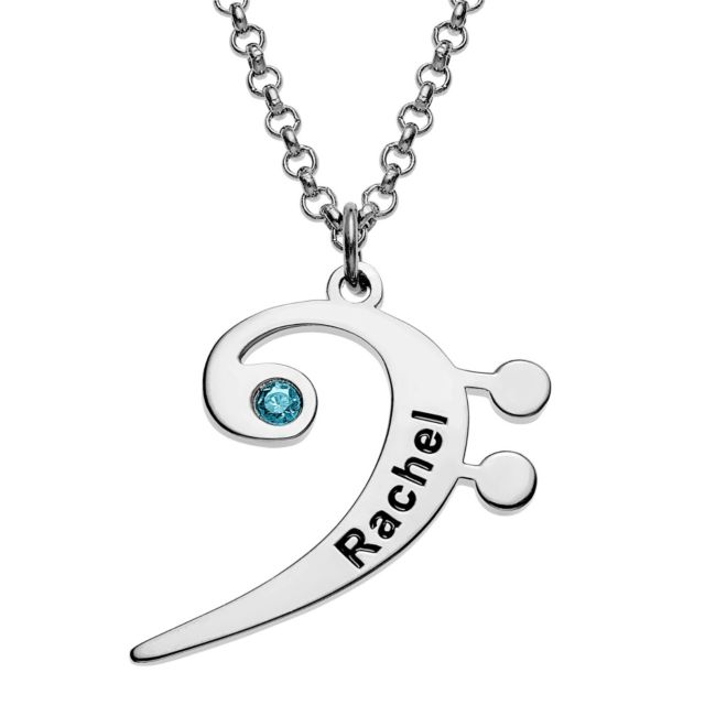 Silvertone Bass Clef Name and Birthstone Necklace