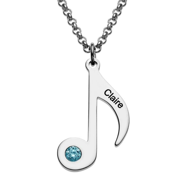 Silvertone Eighth Note Name and Birthstone Necklace