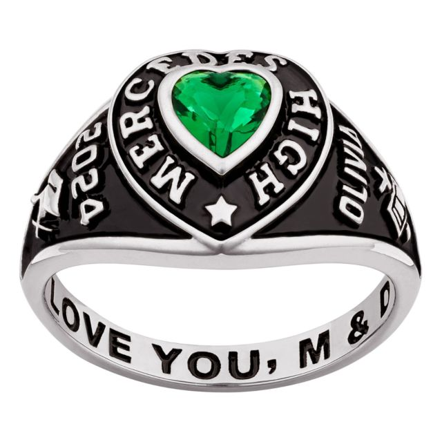 Ladies' Sterling Silver Traditional Heart Birthstone Class Ring