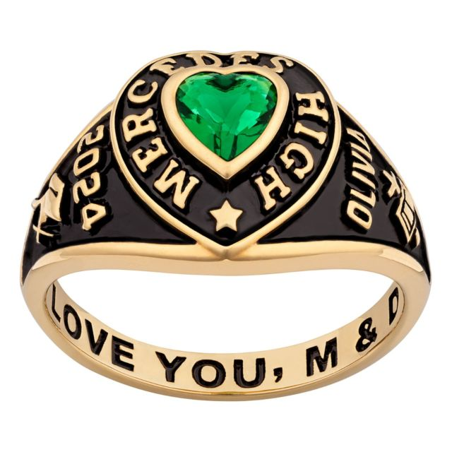 Ladies' 14K Gold over Sterling Traditional Heart Birthstone Class Ring