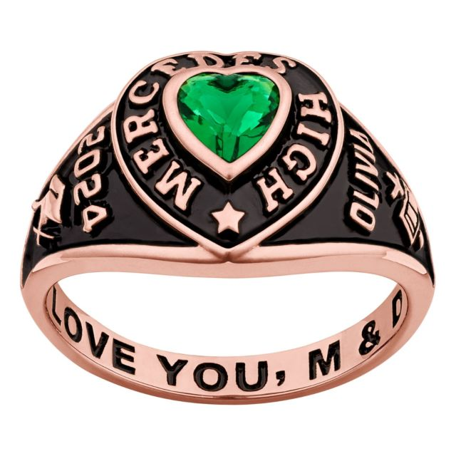 Ladies' 14K Rose Gold over Sterling Traditional Heart Birthstone Class Ring