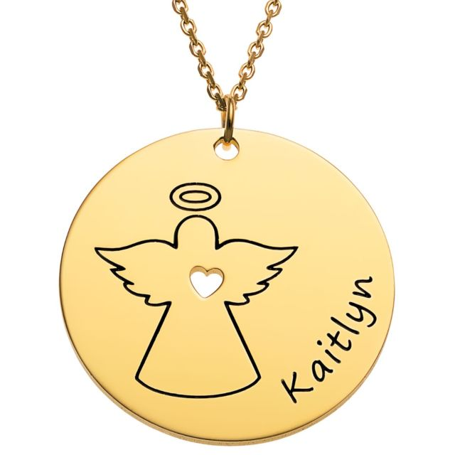 Goldtone Engraved Name with Angel Disc Necklace