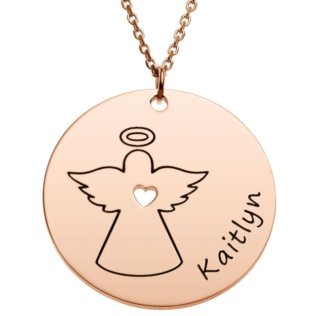 Rose Goldtone Engraved Name with Angel Disc Necklace