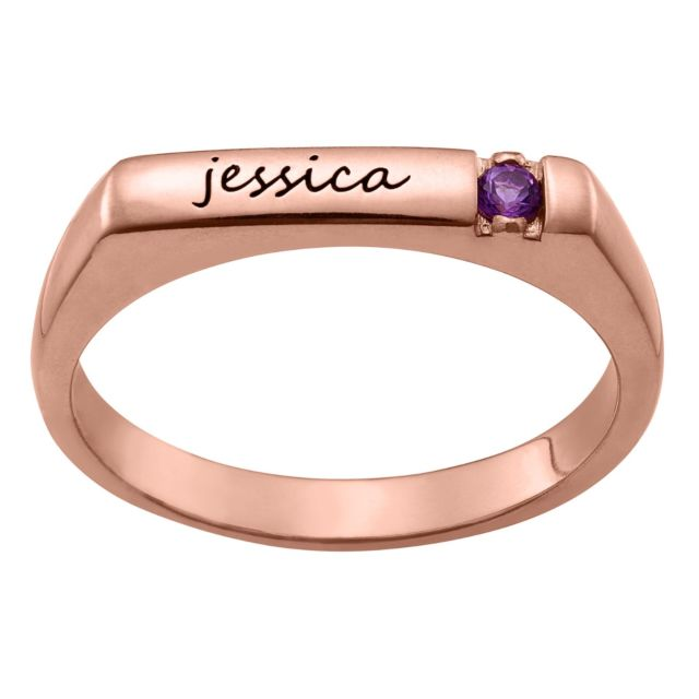 Personalized Rose Gold Plated Name and Birthstone Stackable Ring