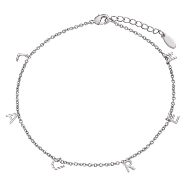 Silver Plated Dainty Name Anklet