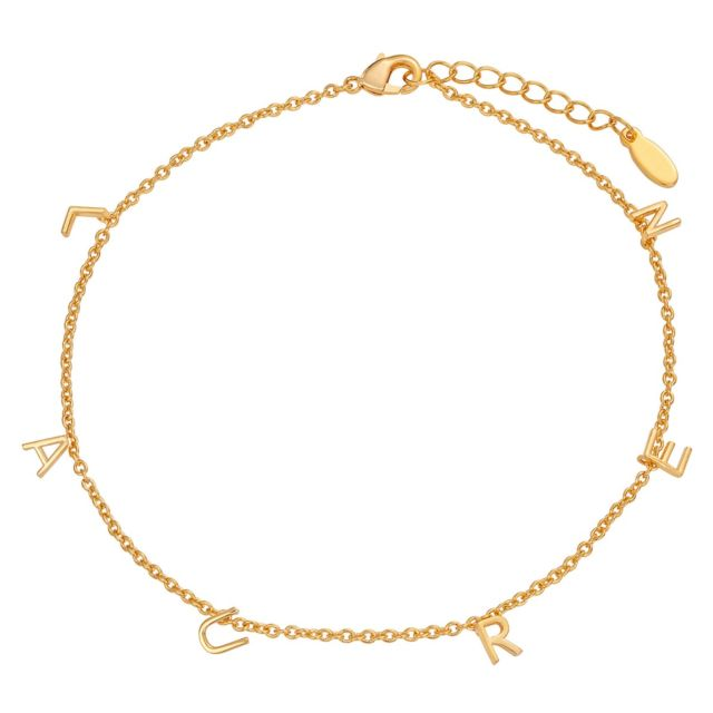 14K Gold Plated Dainty Name Anklet