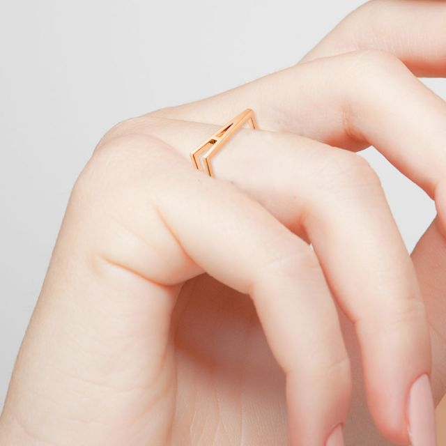 14K Rose Gold Plated Bold Horizontal Initial Ring