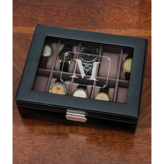 Personalized Initial Black Watch Case