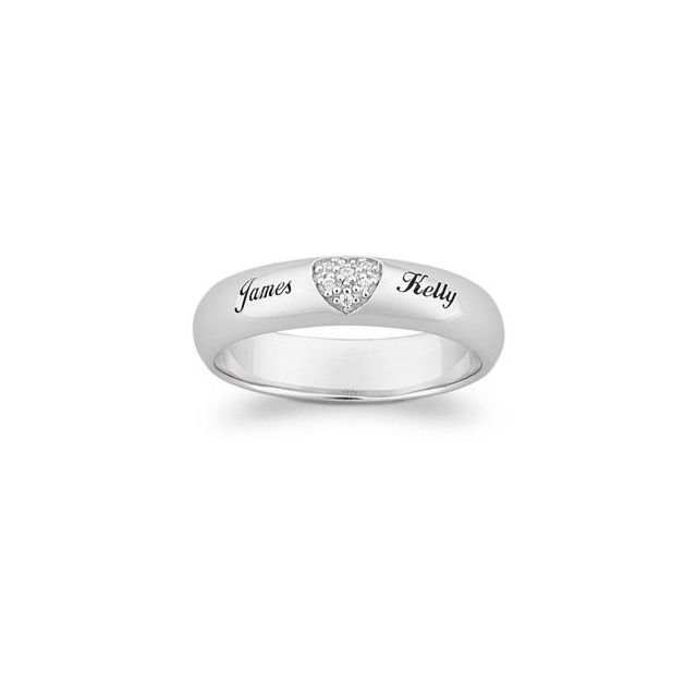 Platinum Plated Top-Engraved Sterling Silver Pave CZ Heart Promise Name Ring