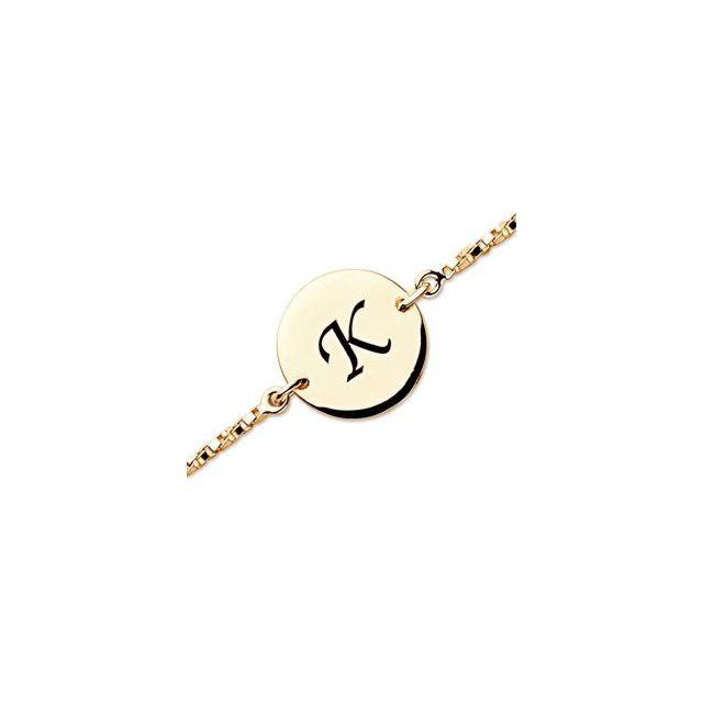 Gold over Sterling Personalized Initial Anklet