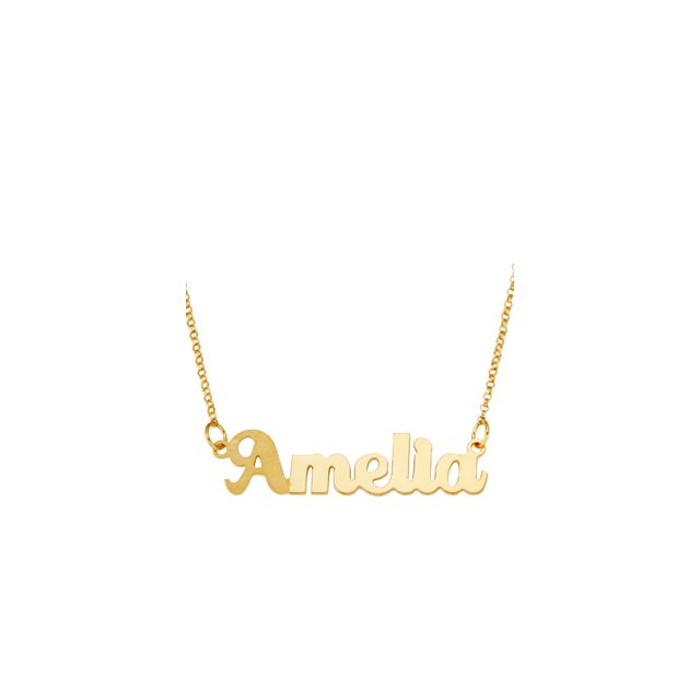 Gold over Sterling Dual Finish Script Name Necklace